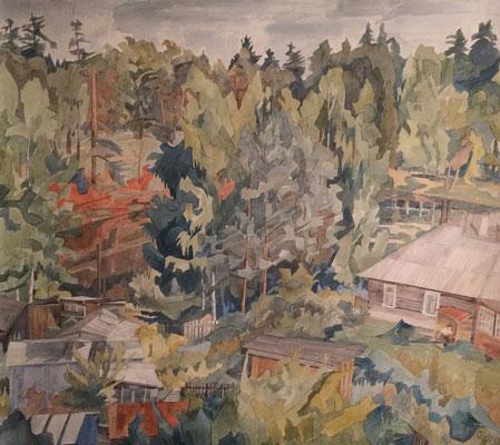 Siversky V vom Fenster aus, Otto Eberhardt, 1998, Aquarell, Papier, 76x68cm, ID1701