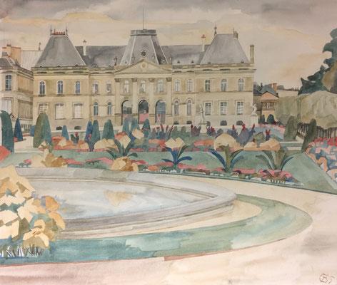 Lunéville, Château côté ville 2, Otto Eberhardt, 1995, Aquarell, Papier, 64x56cm, ID1352