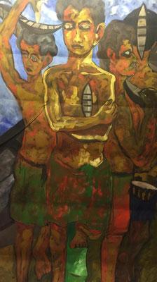 Drei Männer, Shihab Vaippipadath, 2002, Acryl, Leinwand, 106x190cm, ID1606