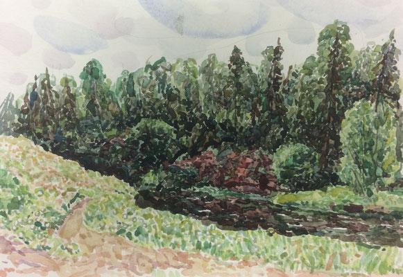 Landschaft mit Wald, Alexandr Zlatkin, undatiert, Aquarell, Papier, 29x20cm, ID1390
