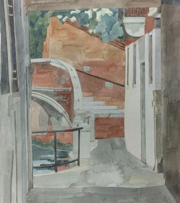 Campiello Barbaro IV, Otto Eberhardt, 1996, Aquarell, Papier, 33,2x38cm, ID1544