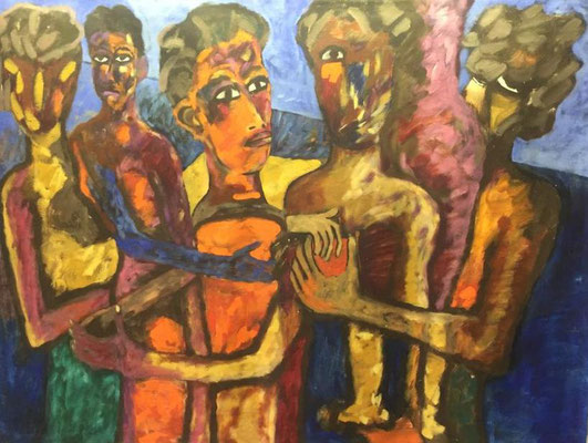 Fünf Männer, Shihab Vaippipadath, 2002, Öl, Leinwand, 138x105cm, ID1602