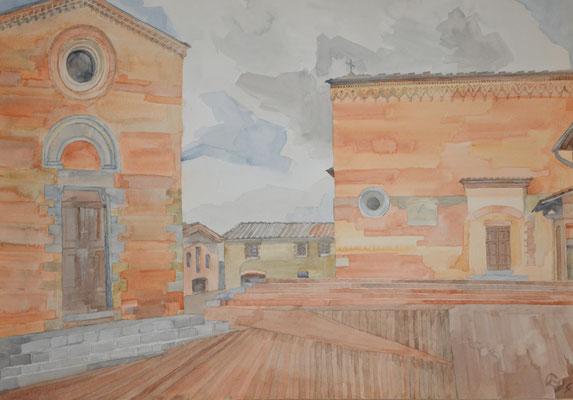 San Gimingiano, Pzza San Agostino, Otto Eberhardt, 1994, Aquarell, Papier, 64x48cm, ID1441