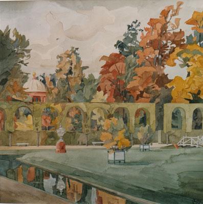 Schlosspark Orangerie und Apollo-Tempel, Otto Eberhardt, 1997, Aquarell, Papier, missingcm, ID1316