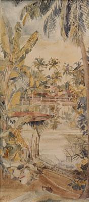 Kerala Cheriazheekal, Quilon, Otto Eberhardt, 1995, Aquarell, Papier, 33x74,5cm, ID1076