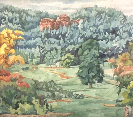 Bruchweiler Geiersteine von Schindhard, Otto Eberhardt, 2004, Aquarell, Papier, 60x52,5cm, ID1193
