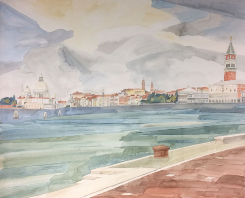 Venedig von Riva die Selle Martiri, Otto Eberhardt, 1996, Aquarell, Papier, 70,9x58cm, ID1535