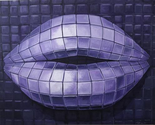 DiscoLips, 80 x 100 cm, Eitempera auf Leinwand