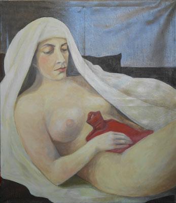 Bauchweh (Portrait Sarah), 120x105cm, Eitempera auf Leinwand