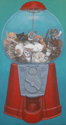 Katzenbebiautomat, 80x145cm, Eitempera auf Leinwand