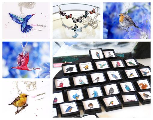 Handgezeichnete Unikate. Vögel und Schmetterlinge.