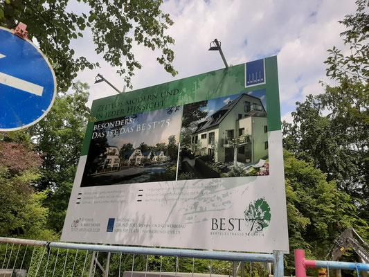 Bautafel München Bertelestraße 4x3m Leihkonstruktion