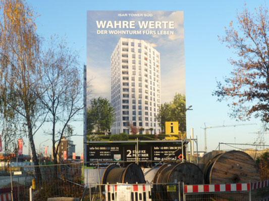 Stahl Bautafel Beton Fundamente Isar Tower 5x8m
