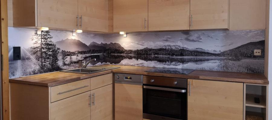 Küchenrückwand Karwendelbilder schwarz weiss