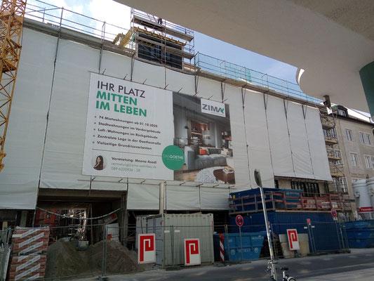 Baugerüst Banner München Goethestraße
