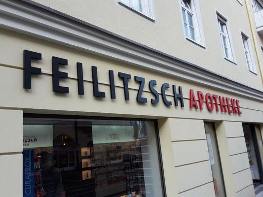 Apotheke Leopoldstraße vollacryl Frontleuchter LED Buchstaben