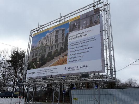Bauschild doppelseitig Banner Spannrahmen 5x3m München