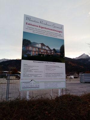 Bautafel mit Holzkonstruktion Garmisch 3x4m