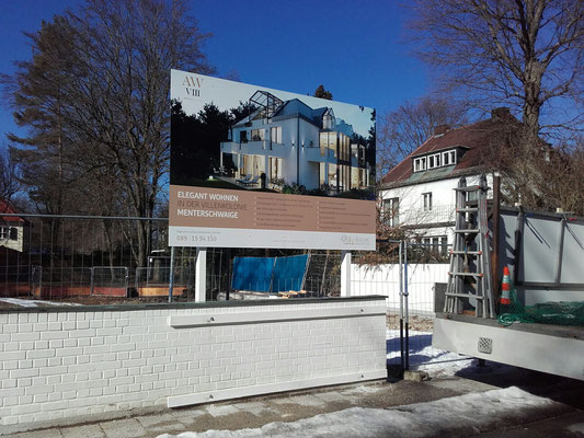 Bautafel 3x2m an Mauer München