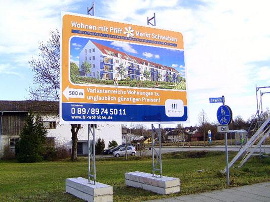 Mobile Bautafel HI-Wohnbau markt schwabing