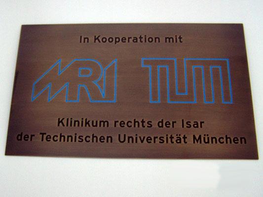 Türschild Kupfer TUM München