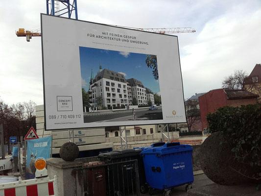 Bautafel 6x4m Stahlkonstruktion München Bavariaring