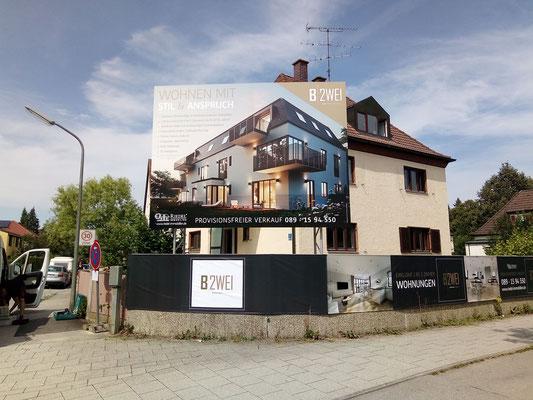 Bauschild 4x3m an Mauer München