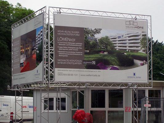 Miet Bautafel Aluminium Welfenhöfe münchen beleuchtet
