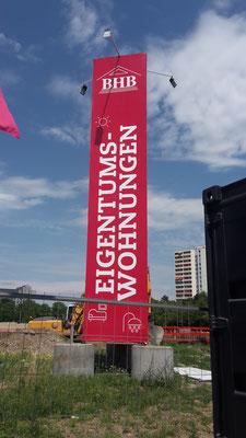 Werbeturm 11m hoch Planen Druck München Perlach