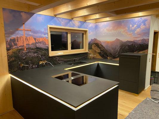 Küchenrückwand 150cm hoch Bergpanorama matt