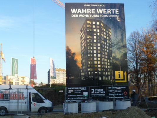 Stahl Bautafel Schachtring Fudnamente Isar Tower 5x8m