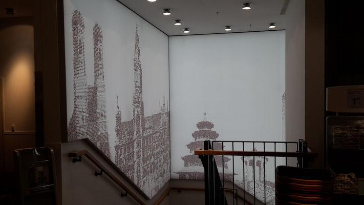 LED Lichtwand Treppenhaus München