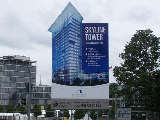 Stahl Bautafel BHG Skyline Tower München