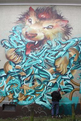 Streetart Künstler am Werk, Streets Festival 2016