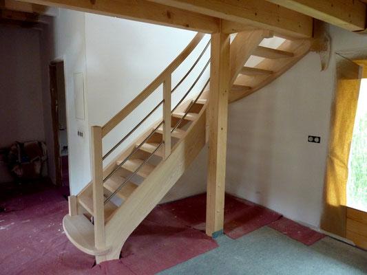 Escalier double 1/4 tournant en frêne