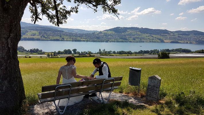 Hochzeitsfahrt mit Brautpaar in der Honeriweid mit Blick auf den Hallwilersee