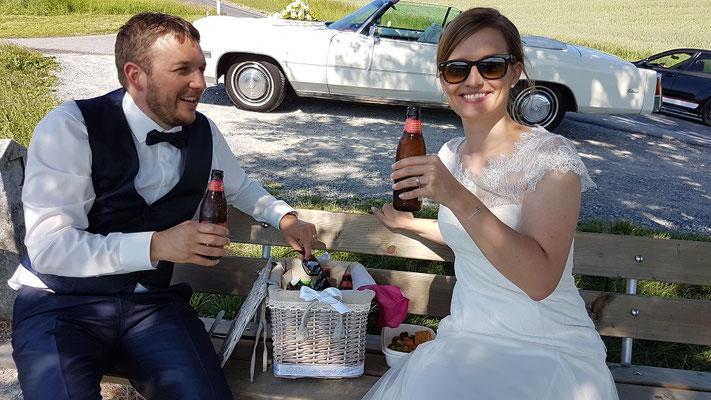 Hochzeitsfahrt mit Brautpaar in der Honeriweid