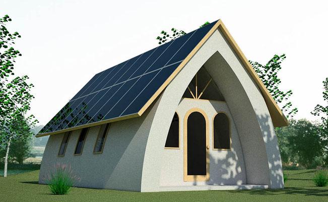 Projection d'une maison au toit en voûte - source Erathbagplans.wordpress.com