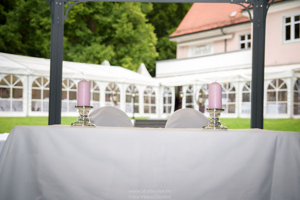 Hochzeitsfotos von der Hochzeitsdekoration
