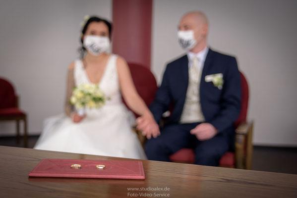 Corona Hochzeit Nürnberg, Hochzeitsfotos mit Masken