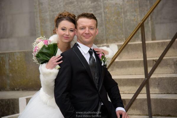 Hochzeitsportrait Brautpaar Walhalla