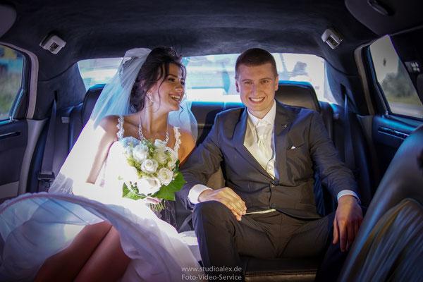 Hochzeitsfotografie in Limousine Fürth Sergej Reimer
