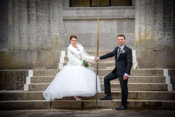 Kreative Hochzeitsfotos auf der Walhalla
