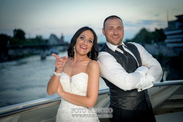 Hochzeitfotografie auf der Donauschiffahrt Regensburg