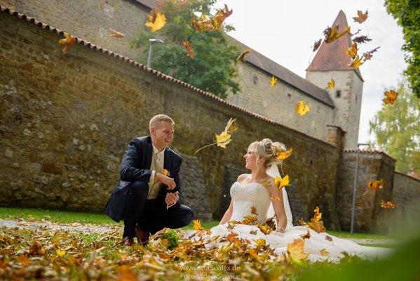 schöne Herbstfotos von der Hochzeit in Amberg