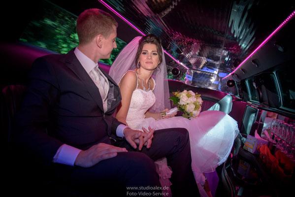 Hochzeitsfotos in Limousine Fürth