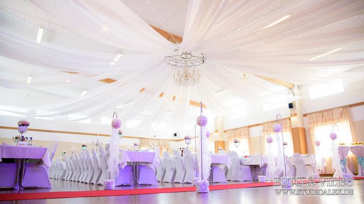 Dekoration für Hochzeit in Eventhalle Fürth