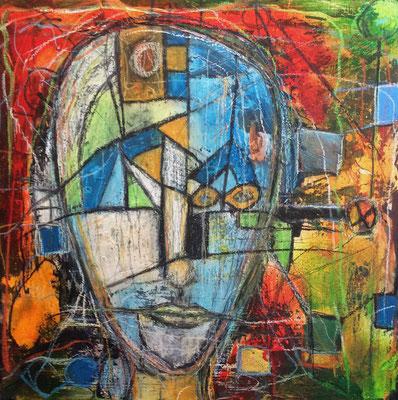 Vernetzt Mischtechnik auf Leinwand 50 x 50 cm/ Expressive Malerei/Grafik