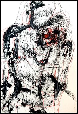 Monoprint 18/Druckgrafik Übermalung 50 x 70 cm