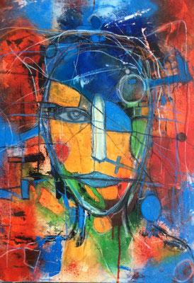 System Error Mischtechnik auf Leinwand 50 x70 cm/ Expressive Malerei/Grafik (verkauft)